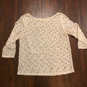 Lace overlay 3/4 length sleeve blouse